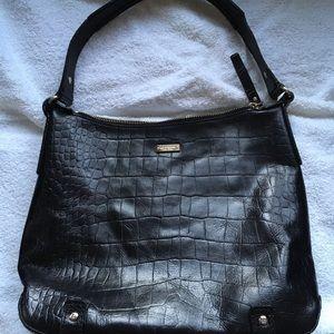Kate Spade Black CrocEmbossed Leather Shoulder Bag